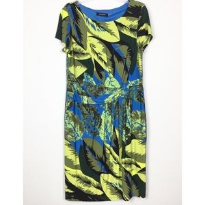 Ellen Tracy Tropical Ruched Waist Dress